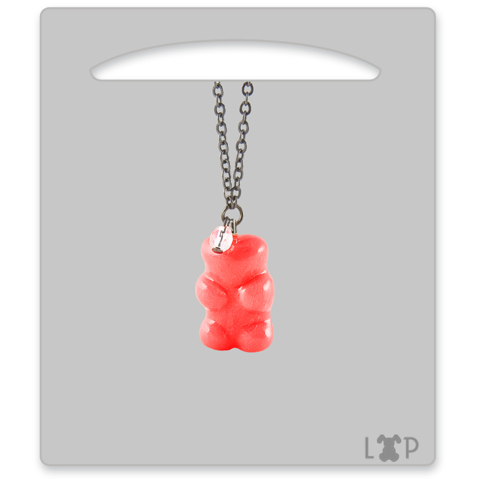 Collier Jelly Bear Rouge Grenadine
